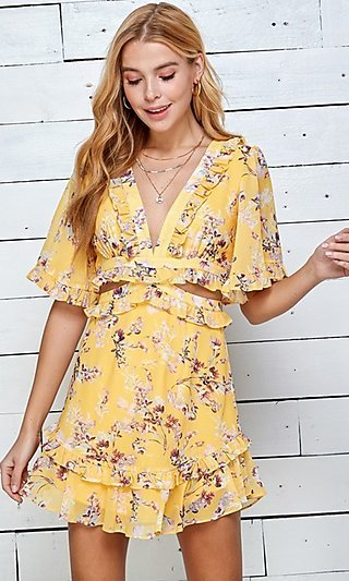 Open-Back Side Cut-Out Floral Short Casual Dress