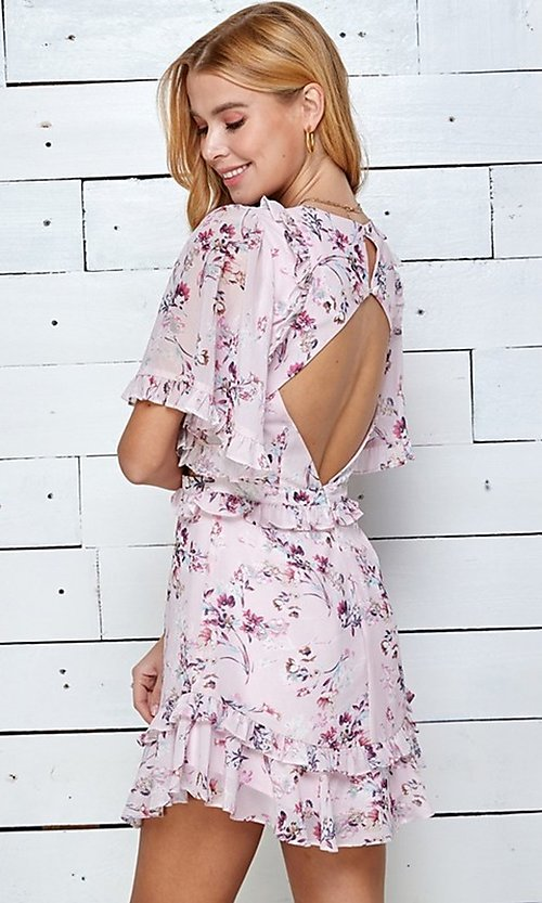 Image of short print casual summer dress with cut outs. Style: LAS-TWE-21-5101IMD Detail Image 3