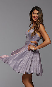 Image of short metallic homecoming dress with side cut outs. Style: PG-BHC-21-39 Detail Image 1