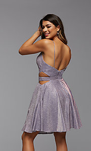 Image of short metallic homecoming dress with side cut outs. Style: PG-BHC-21-39 Detail Image 4