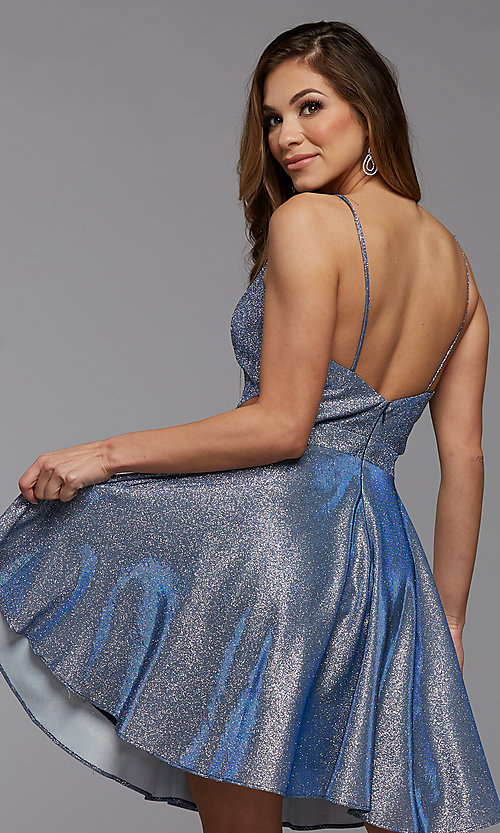 Image of short metallic homecoming dress with side cut outs. Style: PG-BHC-21-39 Back Image