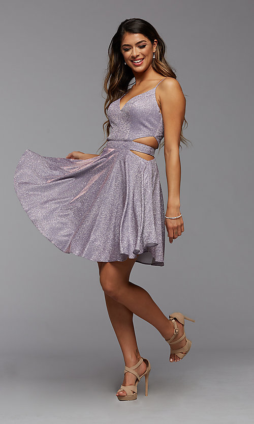 Image of short metallic homecoming dress with side cut outs. Style: PG-BHC-21-39 Detail Image 3