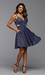 Image of metallic short homecoming dance dress with pockets. Style: PG-BHC-21-22 Detail Image 1