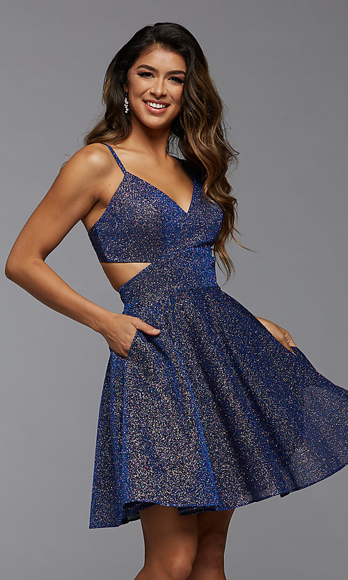 Image of metallic short homecoming dance dress with pockets. Style: PG-BHC-21-22 Front Image