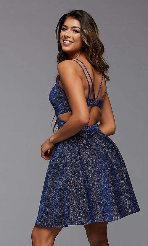 Image of metallic short homecoming dance dress with pockets. Style: PG-BHC-21-22 Back Image