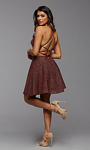 Image of strappy-back sparkly short a-line homecoming dress. Style: PG-BHC-21-28 Detail Image 1