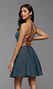 Image of strappy-back sparkly short a-line homecoming dress. Style: PG-BHC-21-28 Back Image