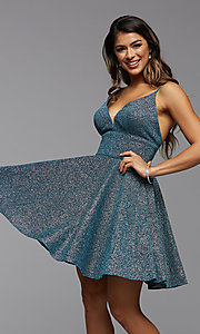Image of fit-and-flare short metallic homecoming dress. Style: PG-BHC-21-30 Detail Image 1