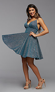 Image of fit-and-flare short metallic homecoming dress. Style: PG-BHC-21-30 Detail Image 2