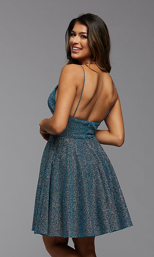 Image of fit-and-flare short metallic homecoming dress. Style: PG-BHC-21-30 Back Image