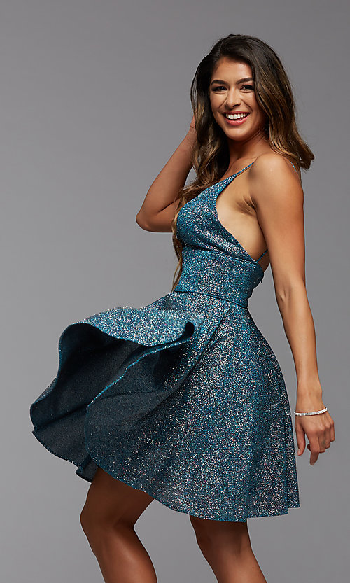 Image of fit-and-flare short metallic homecoming dress. Style: PG-BHC-21-30 Front Image