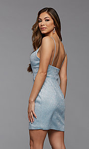 Image of deep v-neck glitter short fitted homecoming dress. Style: PG-BHC-21-33 Detail Image 2