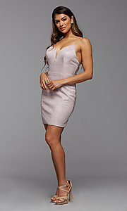 Image of deep v-neck glitter short fitted homecoming dress. Style: PG-BHC-21-33 Detail Image 4