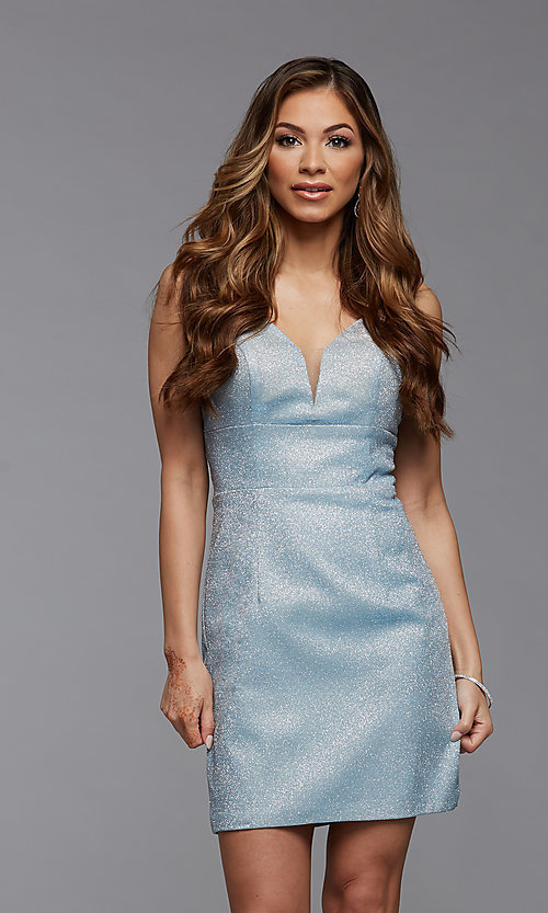 Image of deep v-neck glitter short fitted homecoming dress. Style: PG-BHC-21-33 Detail Image 1