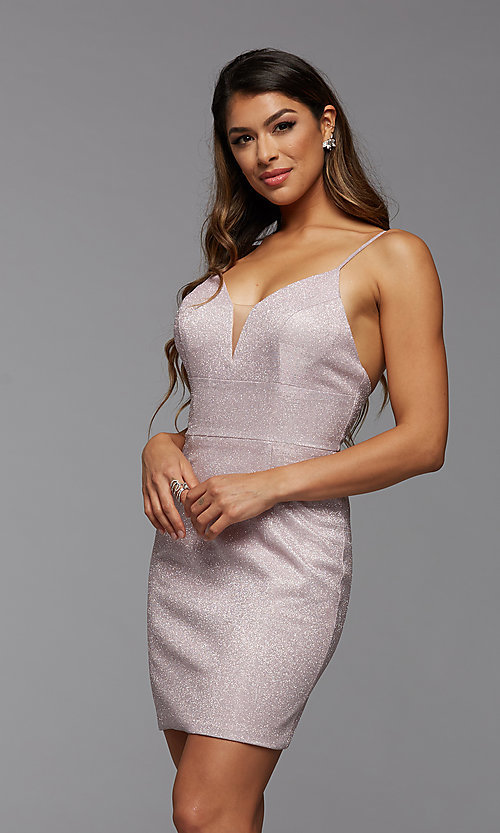 Image of deep v-neck glitter short fitted homecoming dress. Style: PG-BHC-21-33 Detail Image 3