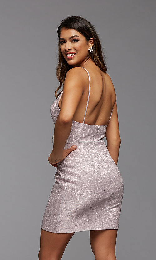Image of deep v-neck glitter short fitted homecoming dress. Style: PG-BHC-21-33 Detail Image 5