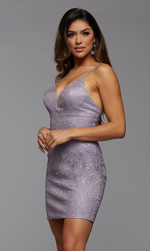 Image of deep v-neck glitter short fitted homecoming dress. Style: PG-BHC-21-33 Front Image
