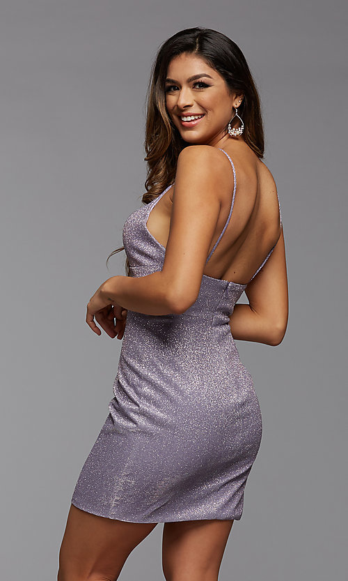 Image of deep v-neck glitter short fitted homecoming dress. Style: PG-BHC-21-33 Back Image