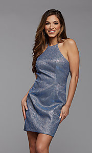 Image of high-neck short sparkly homecoming dress. Style: PG-BHC-21-35 Detail Image 1