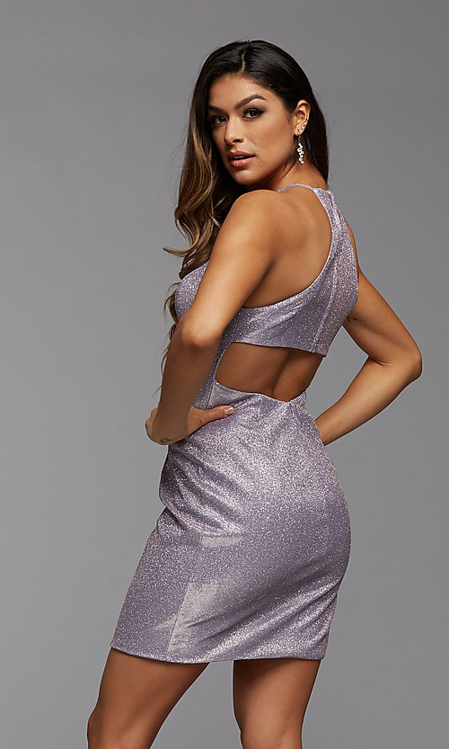 Image of high-neck short sparkly homecoming dress. Style: PG-BHC-21-35 Back Image