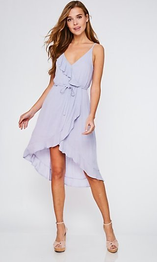 Lilac Purple Casual High-Low Party Dress