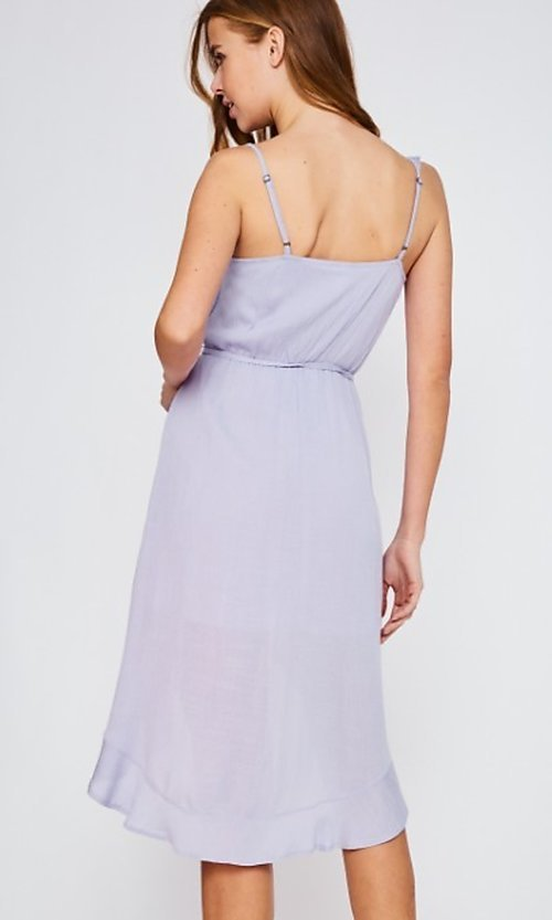 Image of lilac purple casual high-low party dress. Style: FG-BNB-21-LLOLV293069 Back Image
