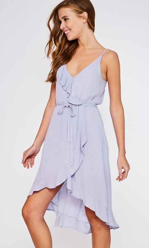 Image of lilac purple casual high-low party dress. Style: FG-BNB-21-LLOLV293069 Detail Image 1