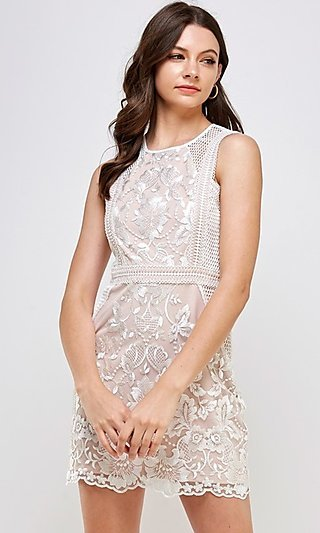Sleeveless Short White Lace Fitted Party Dress