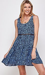Image of navy blue floral-print short casual party dress. Style: FG-ECR-21-EDF18046NZ Front Image