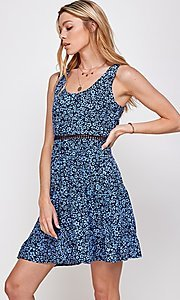 Image of navy blue floral-print short casual party dress. Style: FG-ECR-21-EDF18046NZ Detail Image 1
