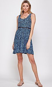 Image of navy blue floral-print short casual party dress. Style: FG-ECR-21-EDF18046NZ Detail Image 4