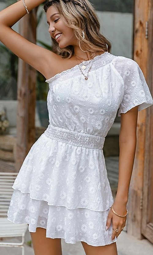 Image of one-shoulder short white casual party dress. Style: FG-BEL-21-L21DR8357 Front Image