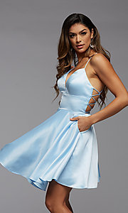 Image of open-back short homecoming dress with side pockets. Style: PG-THC-21-51 Front Image