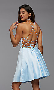 Image of open-back short homecoming dress with side pockets. Style: PG-THC-21-51 Back Image