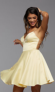 Image of open-back short homecoming dress with side pockets. Style: PG-THC-21-51 Detail Image 1