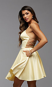 Image of open-back short homecoming dress with side pockets. Style: PG-THC-21-51 Detail Image 2