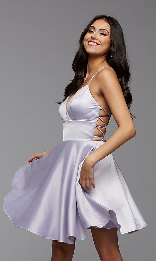 Image of open-back short homecoming dress with side pockets. Style: PG-THC-21-51 Detail Image 4