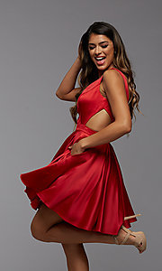 Image of short semi-formal homecoming dress with pockets. Style: PG-THC-21-55 Front Image