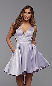 Image of short semi-formal homecoming dress with pockets. Style: PG-THC-21-55 Detail Image 1