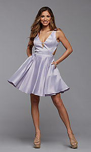 Image of short semi-formal homecoming dress with pockets. Style: PG-THC-21-55 Detail Image 3