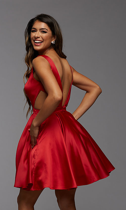 Image of short semi-formal homecoming dress with pockets. Style: PG-THC-21-55 Back Image