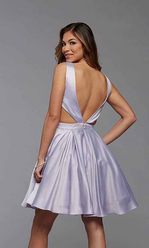 Image of short semi-formal homecoming dress with pockets. Style: PG-THC-21-55 Detail Image 2