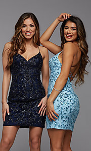 Image of sparkly short designer homecoming dance dress. Style: PG-BHC-21-23 Front Image