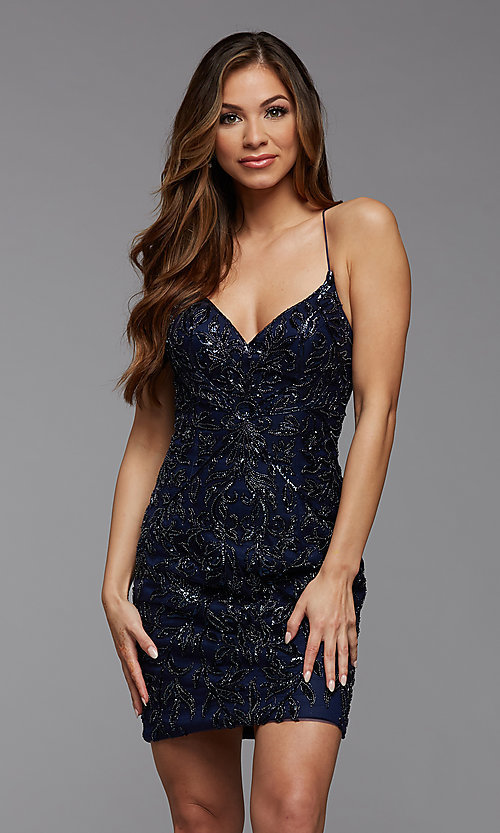 Image of sparkly short designer homecoming dance dress. Style: PG-BHC-21-23 Detail Image 2