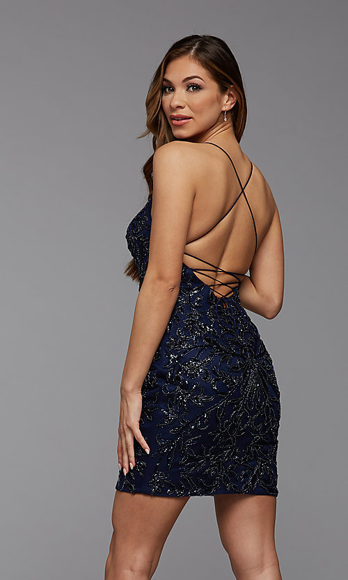 Image of sparkly short designer homecoming dance dress. Style: PG-BHC-21-23 Detail Image 3