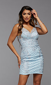 Image of sparkly short semi-formal homecoming party dress. Style: PG-BHC-21-24 Detail Image 1