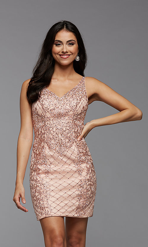 Image of sparkly short semi-formal homecoming party dress. Style: PG-BHC-21-24 Front Image
