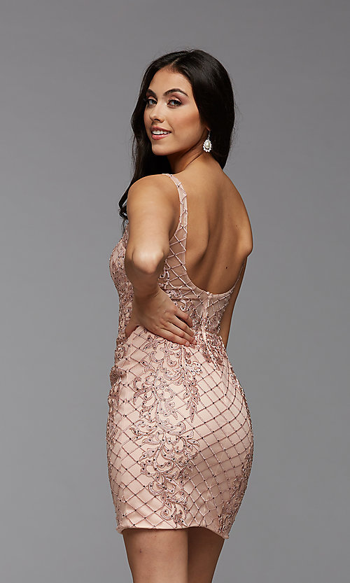 Image of sparkly short semi-formal homecoming party dress. Style: PG-BHC-21-24 Back Image