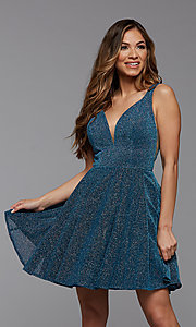 Image of blue glitter short v-back homecoming party dress. Style: PG-BHC-21-29 Front Image