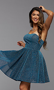 Image of blue glitter strapless short a-line homecoming dress. Style: PG-BHC-21-32 Front Image